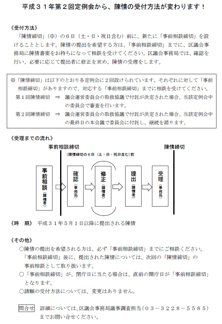 平成31年第2回定例会から陳情の受付方法が変わります。